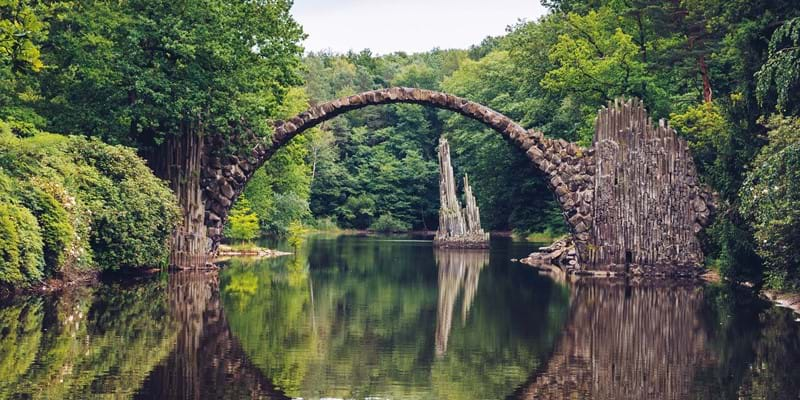 Rakotz bridge, made of stone, in Kromlau, Germany