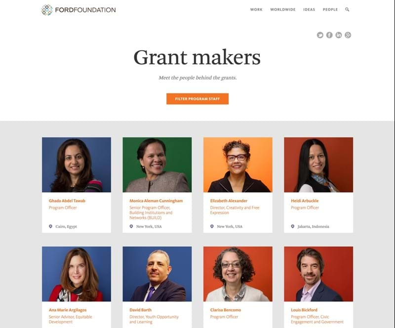 Screen capture of grantmakers page