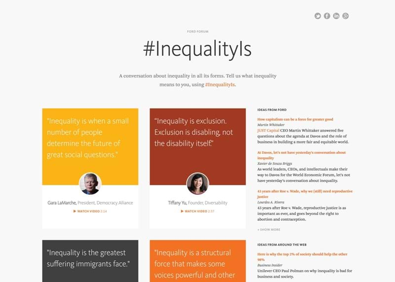 Screen capture of InequalityIs landing page