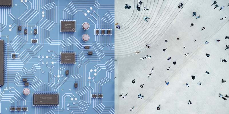 Juxtaposition of circuit board and aerial view of people