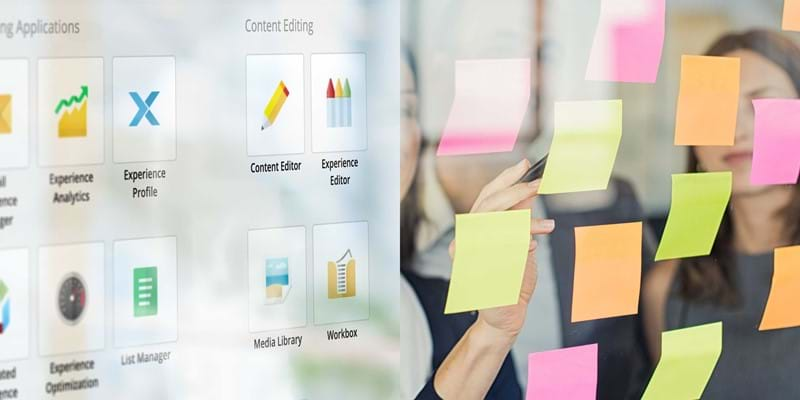 Juxtaposition of content management system interface and team planning with post-it notes